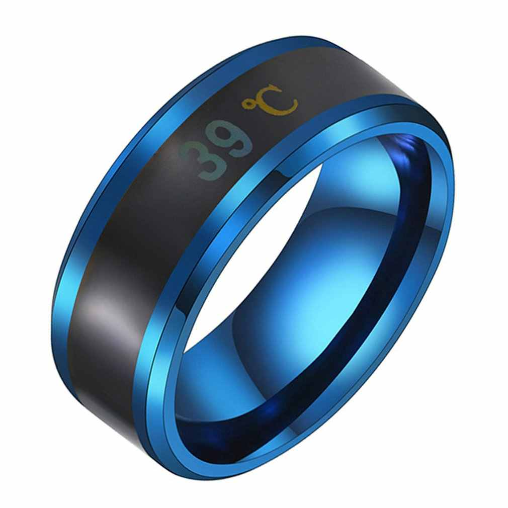 Multifunctional Waterproof Intelligent Smart Temperature Couple Ring Titanium Steel Finger Jewelry Fingertip Temperature Sense