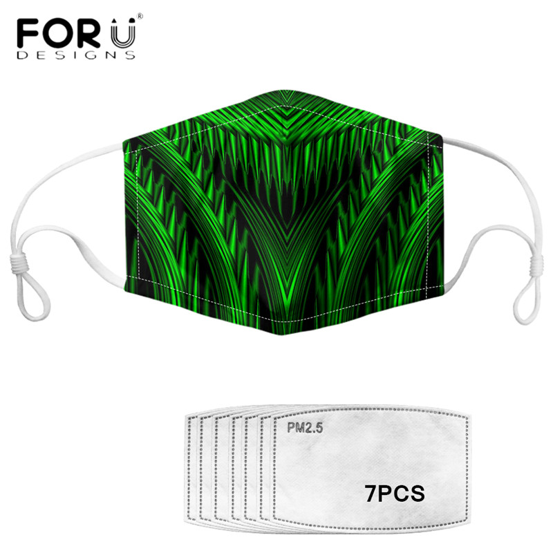 FORUDESIGNS Fashion Face Mouth Cover Masks Cool Polynesian Style Printed Muffle Washable Elastic Reusable Tapabocas Free Ship
