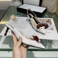 Strawberry Slingback Women Sandals tweed High Heels Patent Leather Shoes Woman Pumps Pointed Wedding Ladies Shoes