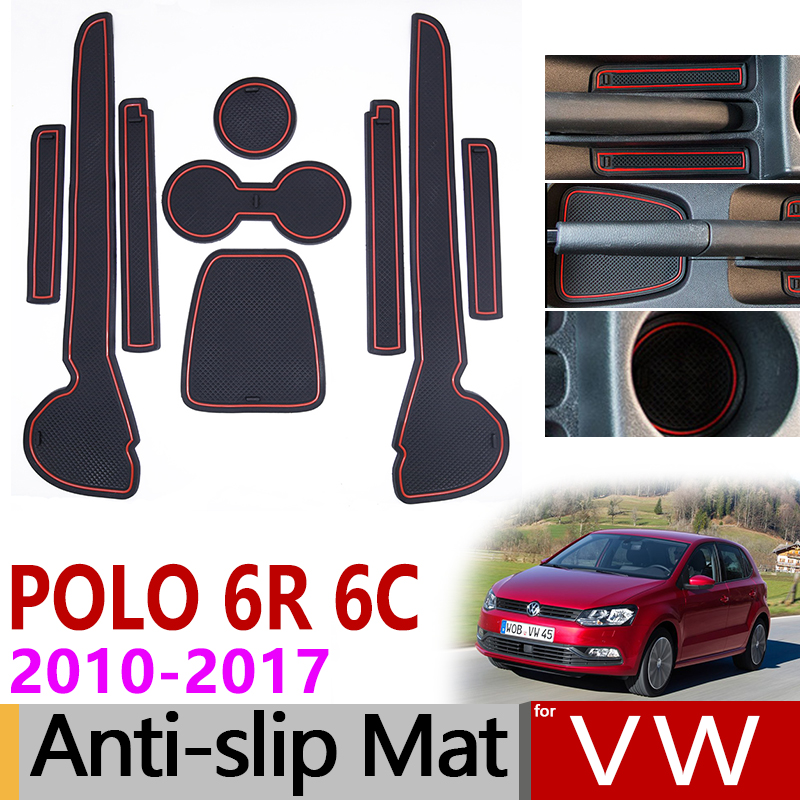 Anti-Slip Rubber Mats Gate Slot Cup Mat For VW POLO 6R 6C 2010 2011 2012 2013 2014 2015 2016 2017 MK5 Volkswagen GTI Accessories