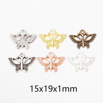 30pcs 15x19x1mm Butterfly Charms Pendant for Bracelets Necklaces Anklet  Accessories for Wholesale Craft Jewelry Making DIY 30pcs metal feather leaf dreamcatcher charms pendants for diy earrings necklaces bracelets findings for jewelry making wholesale