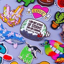 Cartoon Patch Letter Embroidered Patches For Clothing Stripes Cute Frog Stickers Lips LGBT Gay Patches On Clothes Applique Patch