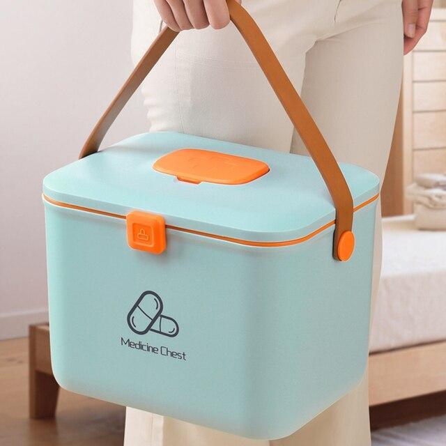פלסטיק ערכת עזרה הראשונה רפואית תיבת גדול אחסון לרפואה ארגונית רפואת חזה חירום מיכל בית ערכה רפואית