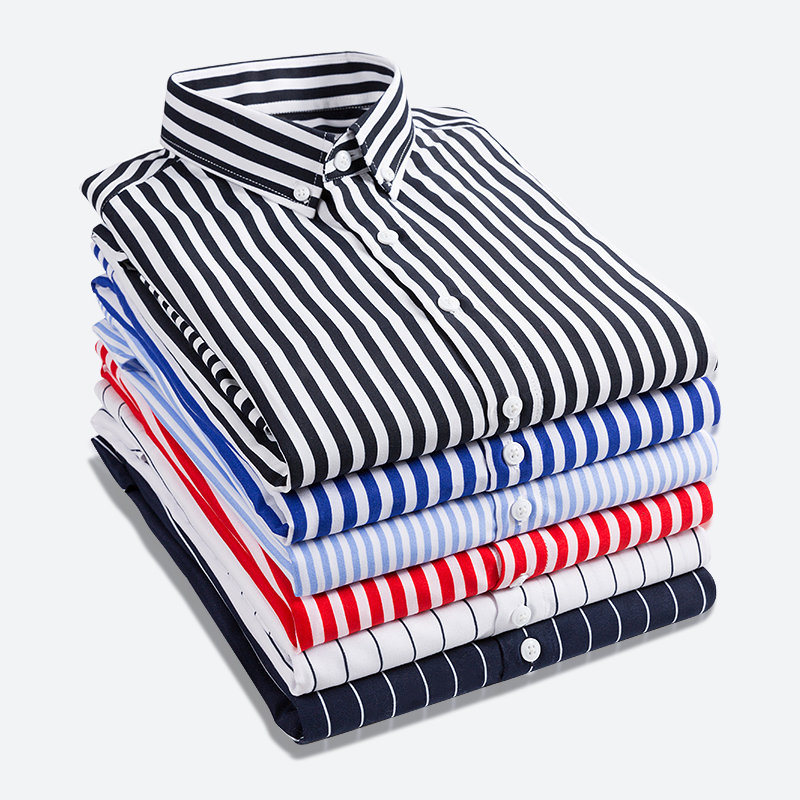 Spring Fashion Striped Casual Men's Long-sleeved Shirt Classic Comfortable Soft Men's Dress Slim Shirt Used For Bottoming Shirt