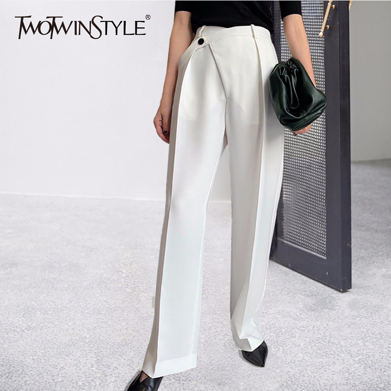 TWOTWINSTYLE Casual Women Pants High Waist Ruched Loose Irregular Long Stragiht Trousers Female Spring Fashion 2020 Clothing New