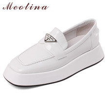 Meotina Flats Platform Shoes Genuine Leather Loafers Shoes Women Square Toe Shoes Slip On Metal Decoration Footwear Ladies White