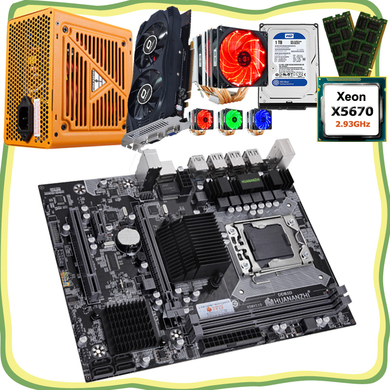 HUANANZHI computer DIY X58 motherboard with <font><b>CPU</b></font> <font><b>Xeon</b></font> <font><b>X5670</b></font> with cooler RAM 16G(2*8G) video card GTX750Ti 2G 1TB HDD 500W PSU image