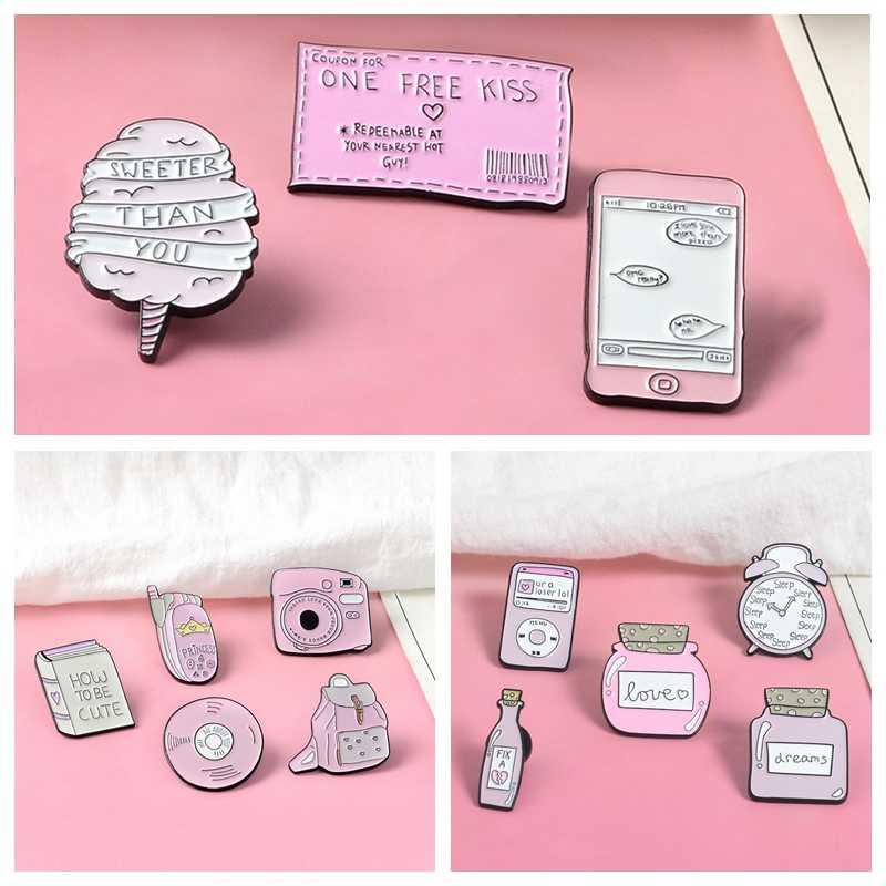 Merah Muda Wanita Pin Kartun Remaja Jantung Bros Lencana Tas Aksesoris Pakaian Enamel Hadiah untuk Anak Perempuan Perhiasan Grosir