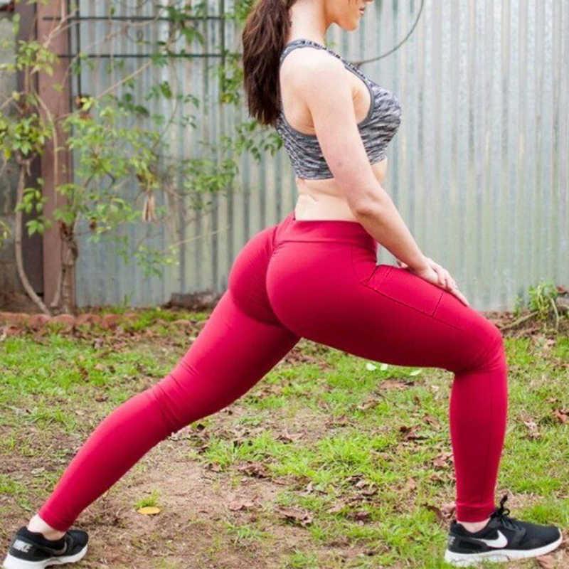Women Gym Sports Yoga Pants Scrunch Leggings Running Ftiness Trousers W// Pockets