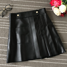 New brand design high quality womens leather skirts 2019 Fall/winter high-waist real pleated A861