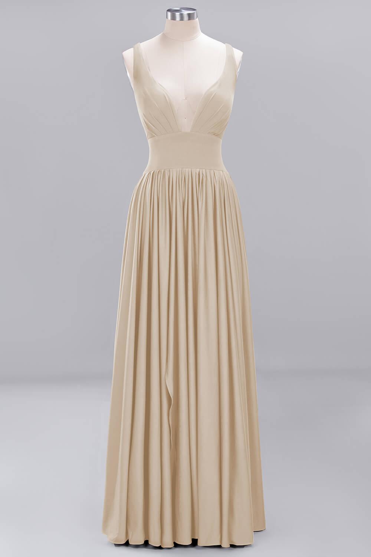 Champagne Satin V Neck Long Bridesmaid Dress 2