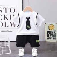 Los niños de verano bebé niños niñas ropa de algodón para niños con corbata T Camisas Pantalones cortos 2 unids/set bebé acogedor niño chándales