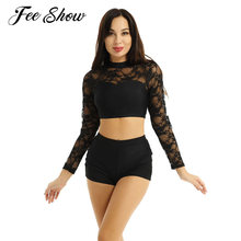 Women Adults Ballet Jazz Dance Costume Outfit Dancewear Round Neck Long Lace Sleeves Crop Top with Shorts for Stage Performance(China)