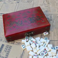 Mini Portable Folding Mahjong Board Game Set With Wooden Box Chinese Family Classic Outdoor Indoor Entertainment Table Games