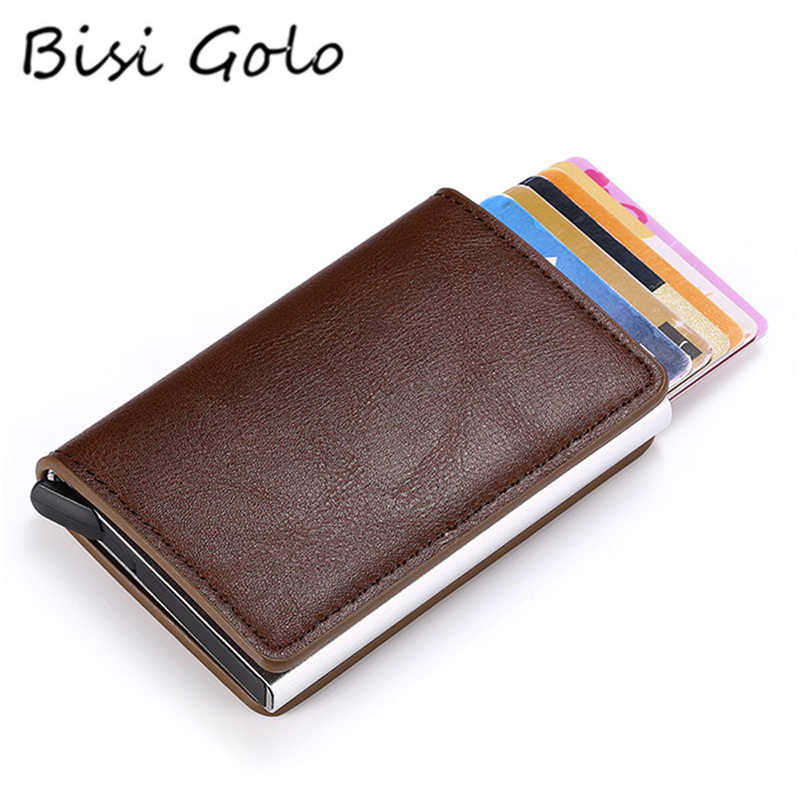 BISI GORO Security RFID Holder Pop-Up Clutch Card Case Men and Women Smart Wallet Mini Wallet Aluminum Box Credit Card Holder