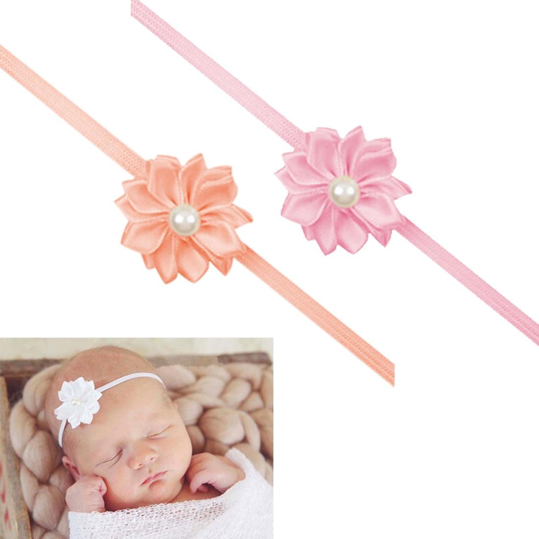 Bebê bandana mini fita de cetim flores pérola bandana menina recém-nascido elástico faixa de cabelo polígono headwear crianças acessórios para o cabelo