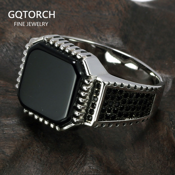 цена Genuine Solid 925 Sterling Silver Turkish Rings For Men Black Rings With Stone Square Natural Onyx Vintage Male Jewelry Anelli онлайн в 2017 году