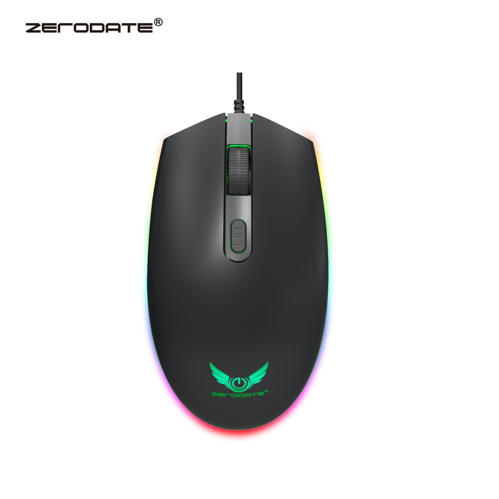 ZERODATE S900 RGB USB Wired Mouse 1600dpi Ergonomic Optical Gaming Mice Third Gear Adjustable LED Backlight For PC