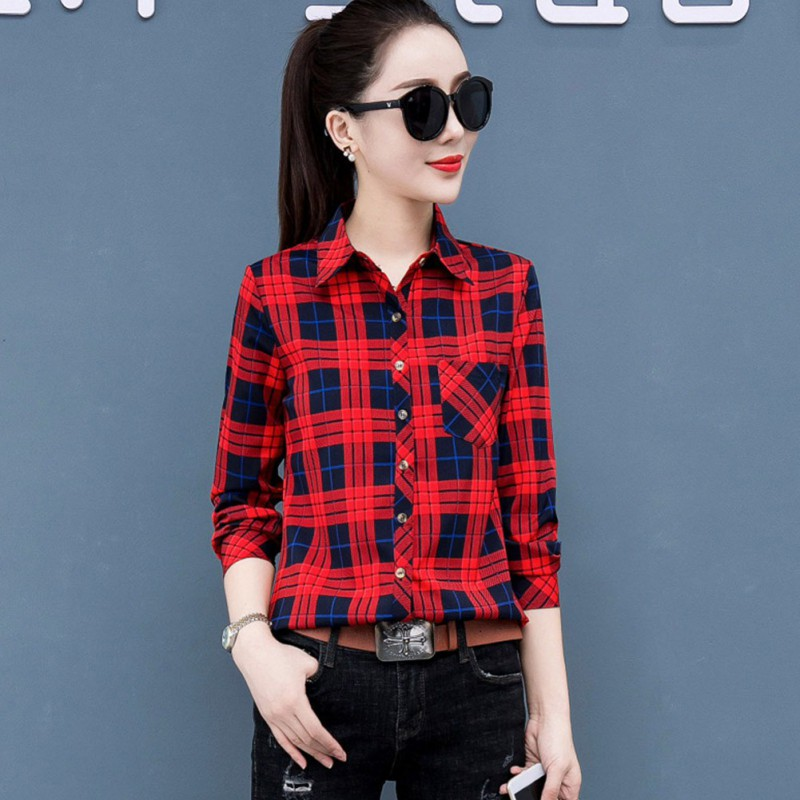 Plus Size Red Plaid Shirt Women Casual Color Check Blouse Ladies Long Sleeve Lapel Shirts 2020 Spring New