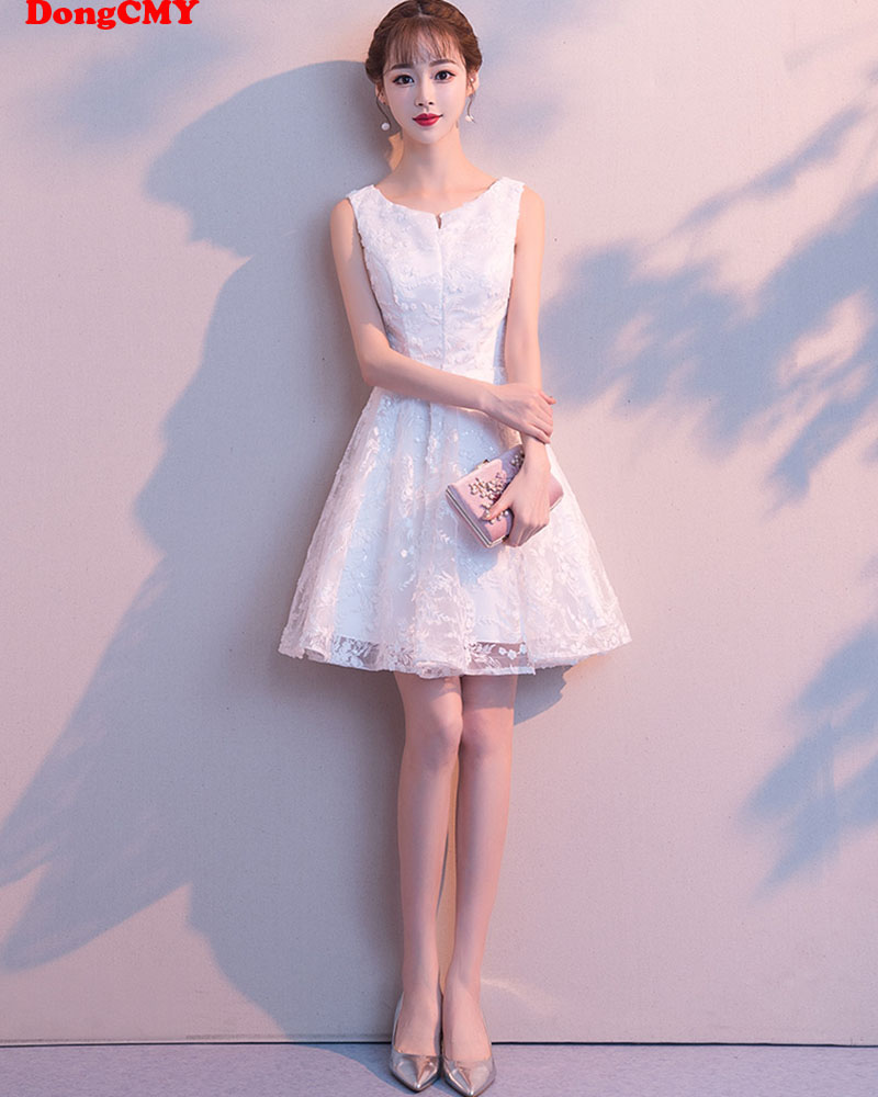 DongCMY Short Flower   Cocktail     Dresses   White Color Elegant Prom Party   Dresses