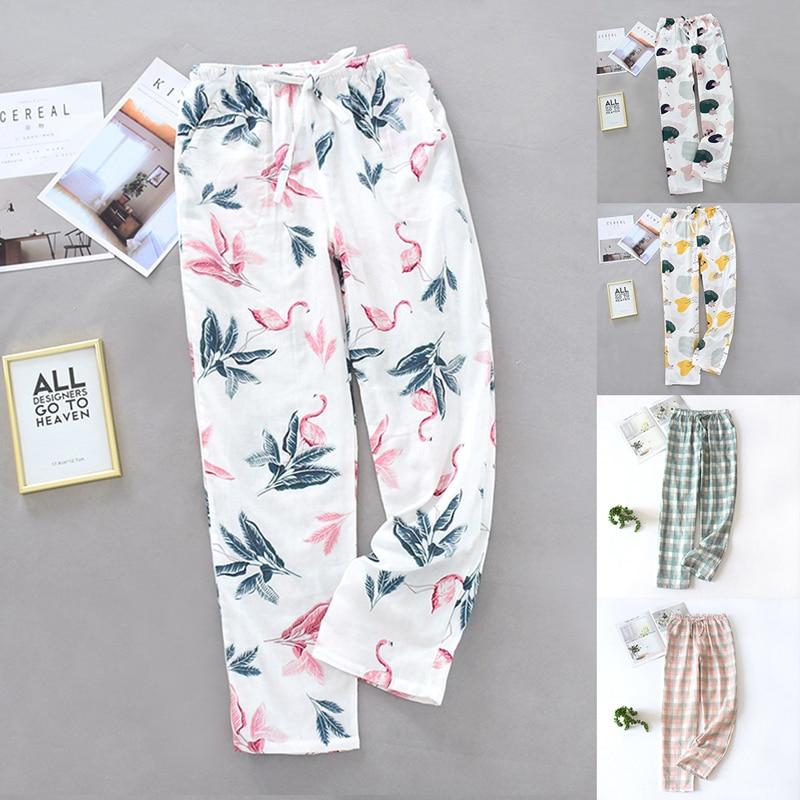 2020 Women Sleepwear Nightwear Loungewear Homewear Ankle Length Pants Floral Print Ladies Clothes Silk Satin Pajamas