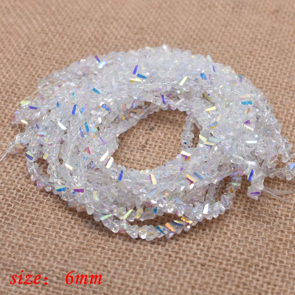 Yanqi блестящие треугольные стеклянные бусины 6 мм 100 шт Хрустальные стеклянные бусины для самостоятельного изготовления ювелирных изделий браслет ручной работы - Цвет: 28-6mm