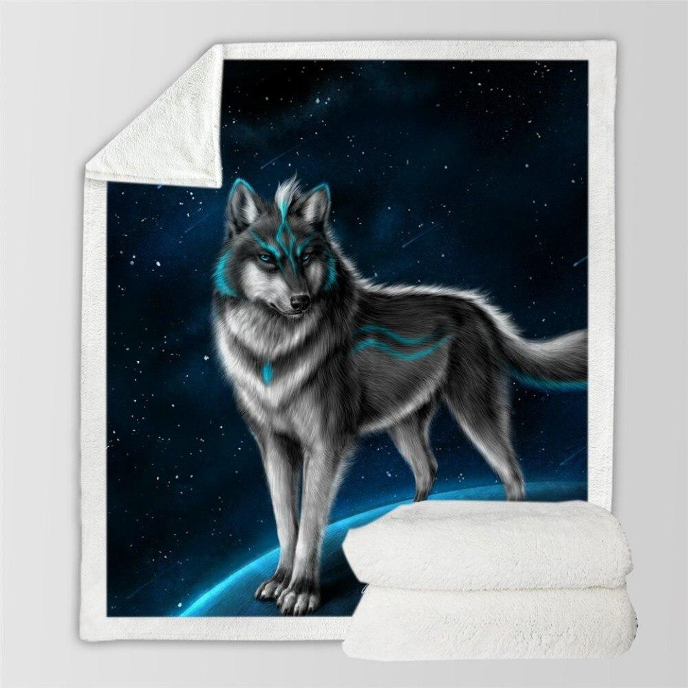 Soft Wolf Warm Blanket 3D Animal Star Galaxy Wolf Pattern Print Bedding Sherpa Fleece Blanket for Kids Portable Throw Blanket