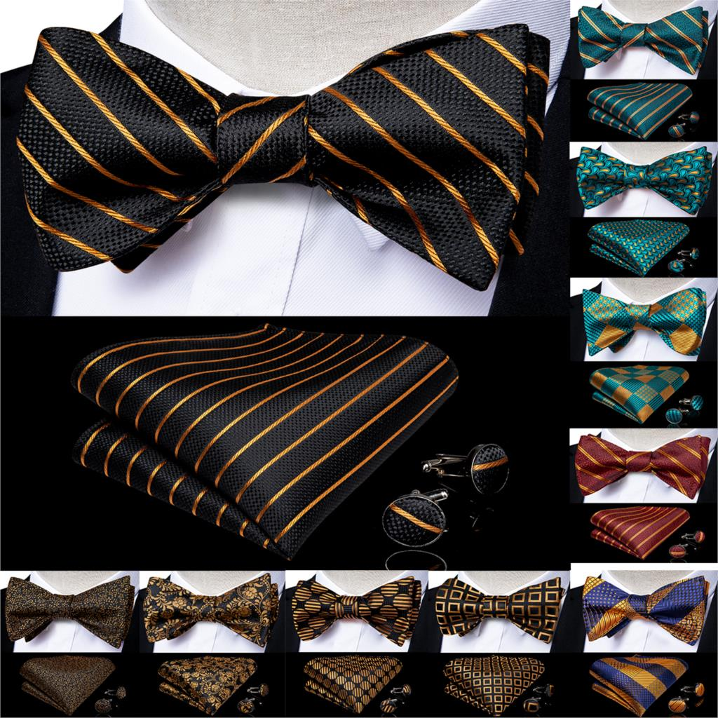 Fashion Men's Bowtie Red Gold Blue Novelty Design Ajustable Butterfly Gift Bowtie For Men Silk Wedding Groom Party DiBanGu