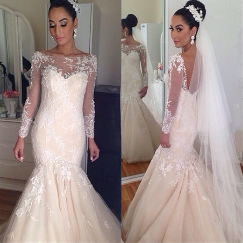 Elegant Lace Princess Wedding Dresses 2015 Bridal Gown See Through Lace Backless Long Sleeve Real Image Sexy Vestido De Noiva