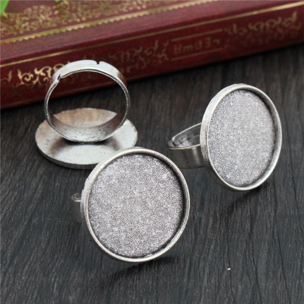 20mm 5pcs Antique Silver Plated Brass Adjustable Ring Settings Blank/Base,Fit 20mm Glass Cabochons,Buttons;Ring Bezels -K3-31