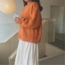 Женский вязаный свитер в Корейском стиле повседневный оранжевый