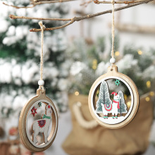 2Pcs New 2020 Merry Christmas Wooden Hollow Pendant Round Alpaca Charm Small Tree Ornaments Doors and Windows Listing