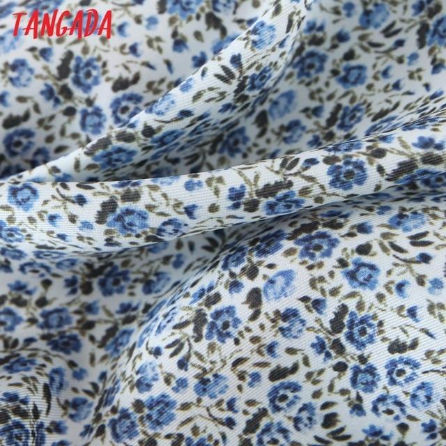 Tangada 2021 Summer Fashion Women Flowers Print Halter Dress Sleeveless Ruffles Female Casual Long Dress SL06 5