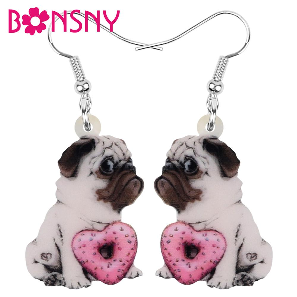 Bonsny Acrylic Valentine's Day Donuts Pug Dog Earrings Animal Drop Dangle Jewelry For Women Girl Teen Charm Party Gift Accessory
