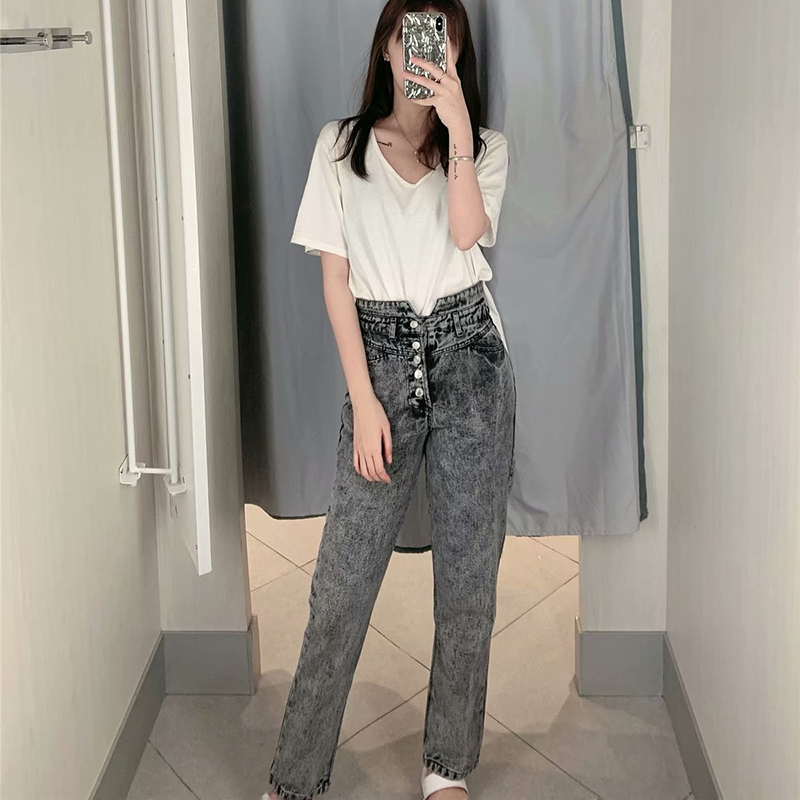 JRNNORV High Waist Jeans Woman Single Breasted Buttons Washed Grey Color Jeans Ripped Jeans For Women Boyfriend Jeans BB0495