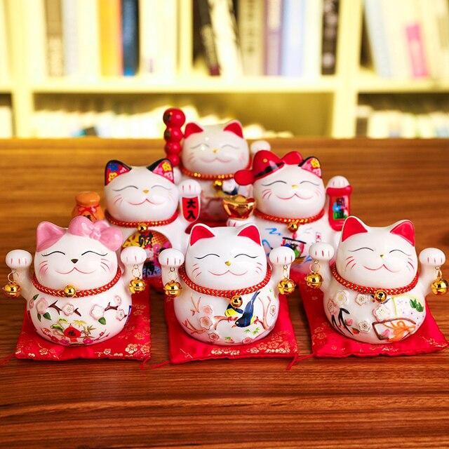 5 inch Maneki Neko Lucky Cat Ornament Ceramic Fortune Cat Statue Home Decorative Gift Feng Shui Beckoning Cat Piggy Bank 2
