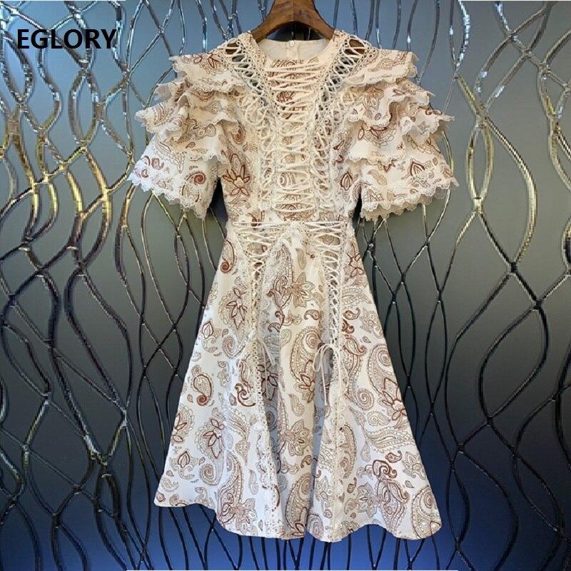 Date mode fête Vintage robes 2019 automne Style femmes croix chaîne Patchwork en cascade à volants manches mi-mollet robe Novia