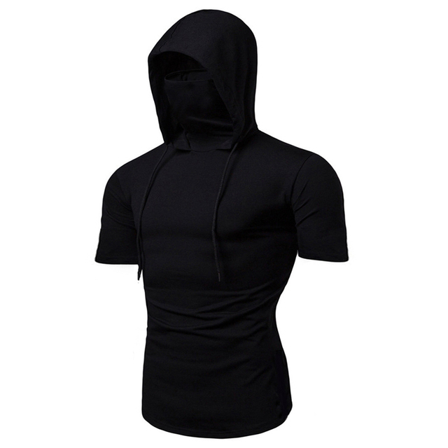 Fashion Short-Sleeved Mask Hooded Tops Men Casual Elastic Solid Fitness Hip Hop Slim Fit Male top tees Streetwear M-3XL 3