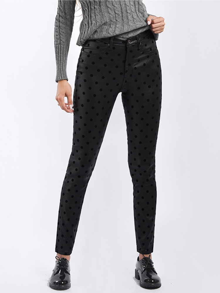 Pants Women Plus Size Black Casual Pencil Pantalones Femme 2019 Spring Autumn Polka Dot Print Trousers Female Clothing Bottoms