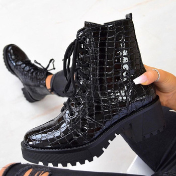 BONJOMARISA Female Fashion Ankle Boots Autumn Winter shoes lace Patent PU Square Heel Cool Boots Women Punk Shoes Woman ankle boots for women high heels winter shoes woman fashion autumn pointed toe square heel boots zipper female ladies shoes 2020