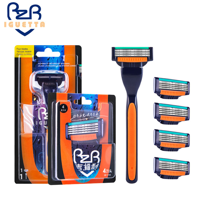 IGUTTA Shaving Razor For Men 4 Layer Razor Blades Replacement Head Quality Straight Razor For Male Hair Remove