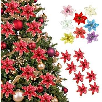 Decoraciones para árboles de Navidad 10 uds/5 uds 14cm artificiales brillosas flores Noel adornos de Navidad Año Nuevo 2021 de Casa Natal Decoración