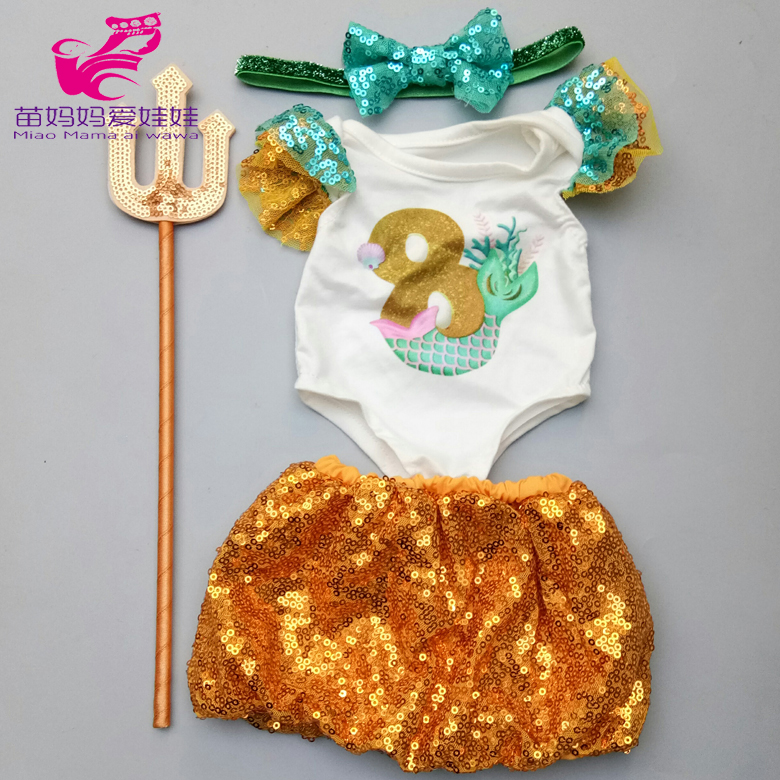 43cm New Born Baby Doll Sequin Dress Scepter And For 18