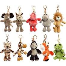 Porte-clés mignons et doux en forme d'animaux en peluche, éléphant, tortue, lion, loup, hippopotame, koala, raton laveur, tigre, chat, cerf, ours, dessin animé, jouet pour fille,