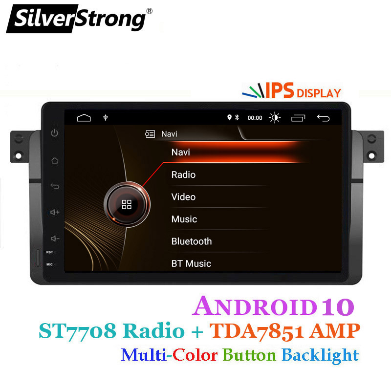 SilverStrong IPS matrix Android10 9inch DSP 2Din Car DVD for BMW E46 318 325 320 Car gps DAB M3 3series with Navi Radio CARPLAY