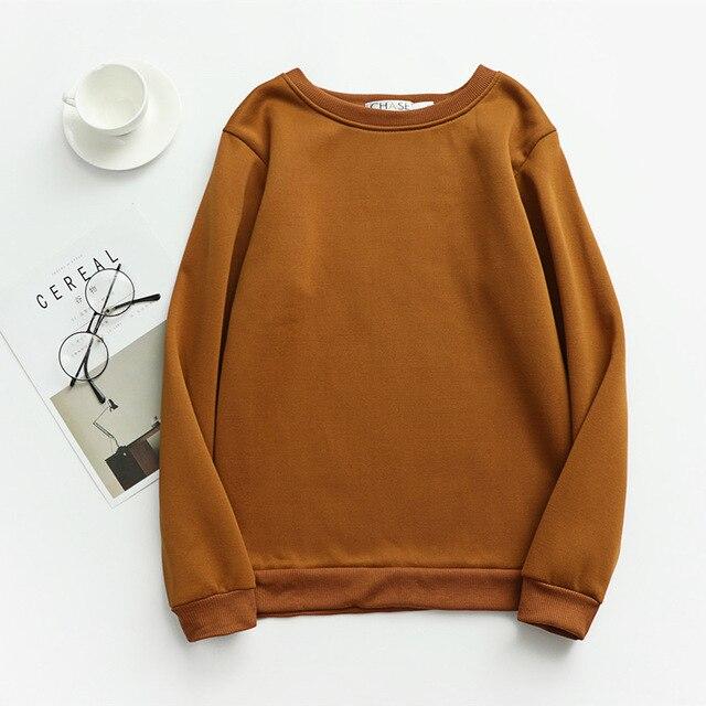 Women Solid Sweatshirts Korean Style Autumn Ladies Student Round Neck Long Sleeve Loose Pullover Tops WDC6301 4