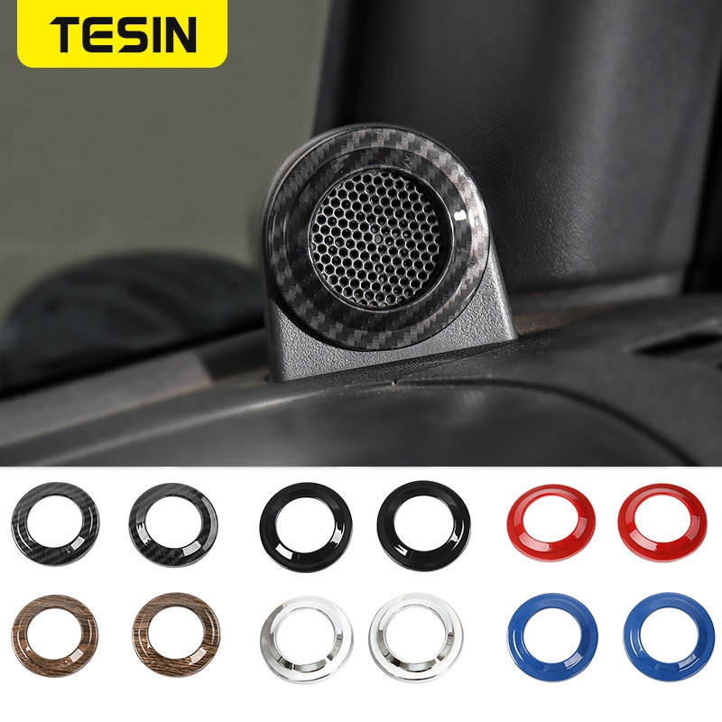 TESIN ABS Car A Pillar Speaker Decorative Cover Frame Stickers Accessories for Jeep Wrangler JK 2008-2014