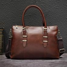 цена на Men's Genuine Leather Shoulder Bag Brand Men Shoulder Bag Business Handbag Laptop Briefcase Male Crossbody Messenger Bags