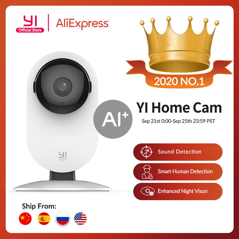 YI Home 1080p Camera 2.4G Wifi Indoor ip Camera AI Human detection Night vision Activity alerts Cameras for home/Cats/pets/Cloud Surveillance Cameras  - AliExpress