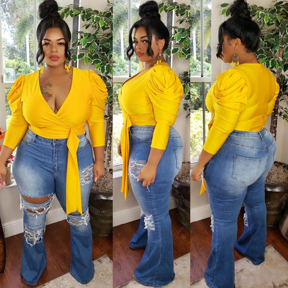 African Sexy Blouse For Women Plus Size Green Yellow Deep v Neck Long Sleeve Short Tops Solid Fashion Blouse Shirts 2020 New Hot